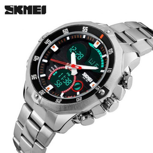 SKMEI 1146 Dual Mode Digital Analog Stainless Watch - Silver