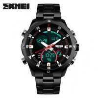 SKMEI 1146 Dual Mode Digital Analog Stainless Watch - Black