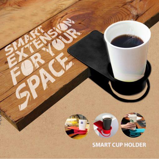 Smart Desk Cup Holder Anti Slip Clip - Black