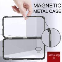 Samsung Galaxy J4 Magnetic Metal Flip Phone Case - Black