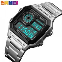 SKMEI 1335 Men's Waterproof Square Digital Chronograph Watch with EL Backlit - Silver