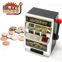 Toy Machine Bank Slot Coin Tin Jackpot Casino Vegas Money Box - Silver