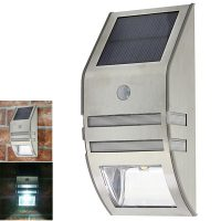 Solar Powered Outdoor Wall LED Light With Motion Sensor - Silver