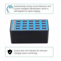 100 Watts 20 USB Port Charging Station - Blue