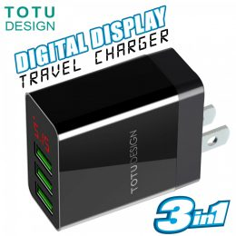 TOTU 3 Port USB LED Display Charger CACA-013 - Black