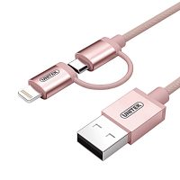 Unitek MFI Certified 1 Meter  2 In 1 Micro USB Data Charging Cable With Lightning Adaptor - Rose Gold