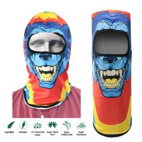 Wolf Cartoon Face Design Full Face Mask - Blue
