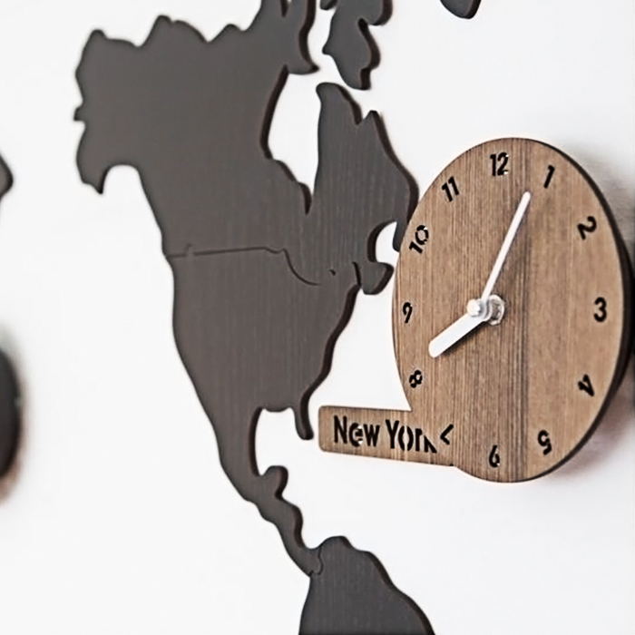 World Map DIY Wall Clock Decoration With 3 Time Zone - Black
