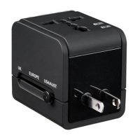 World Travel Adapter Wth 2.1A Dual USB Port - Black