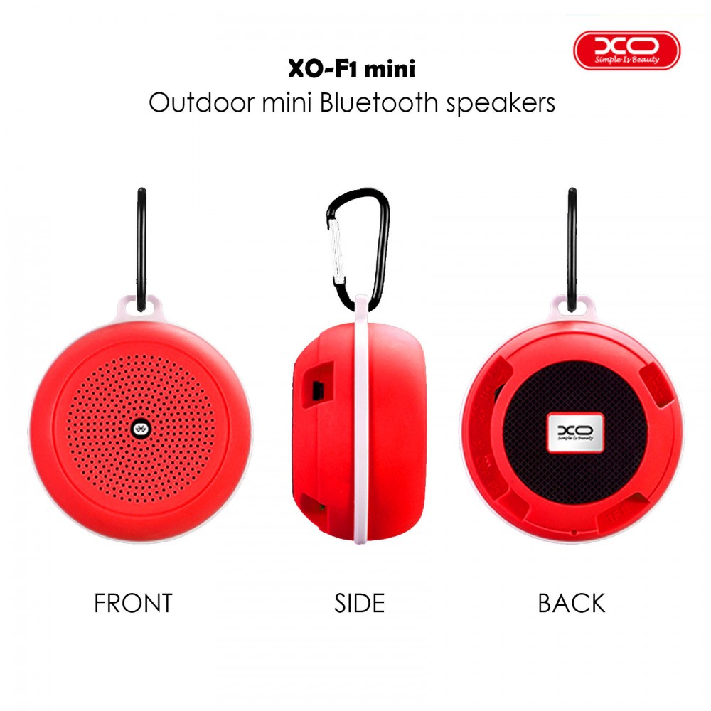 XO F1 Multifunction Bluetooth Speaker With Carabiner - Red