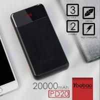Yoobao PD20 Power Quick 20000 mah Compact PD3.0  3 Input 3 Output Polymer Powerbank - Black