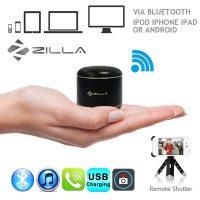 Zilla Metal Nano Bluetooth Speaker With Camera Shutter Stripe - Black
