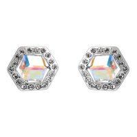 Six Sided Crystal Earrings - White