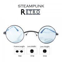Steampunk Retro Style Round Sunglasses -  Black