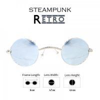 Steampunk Retro Style Round Sunglasses -  Gray