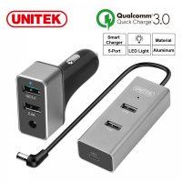 Unitek Y-P530B 60W 5-Port USB Smart Car Charger (1-Port QC3.0  + 3-Port 2.4A + 1-Port USB-C 3A) - Silver