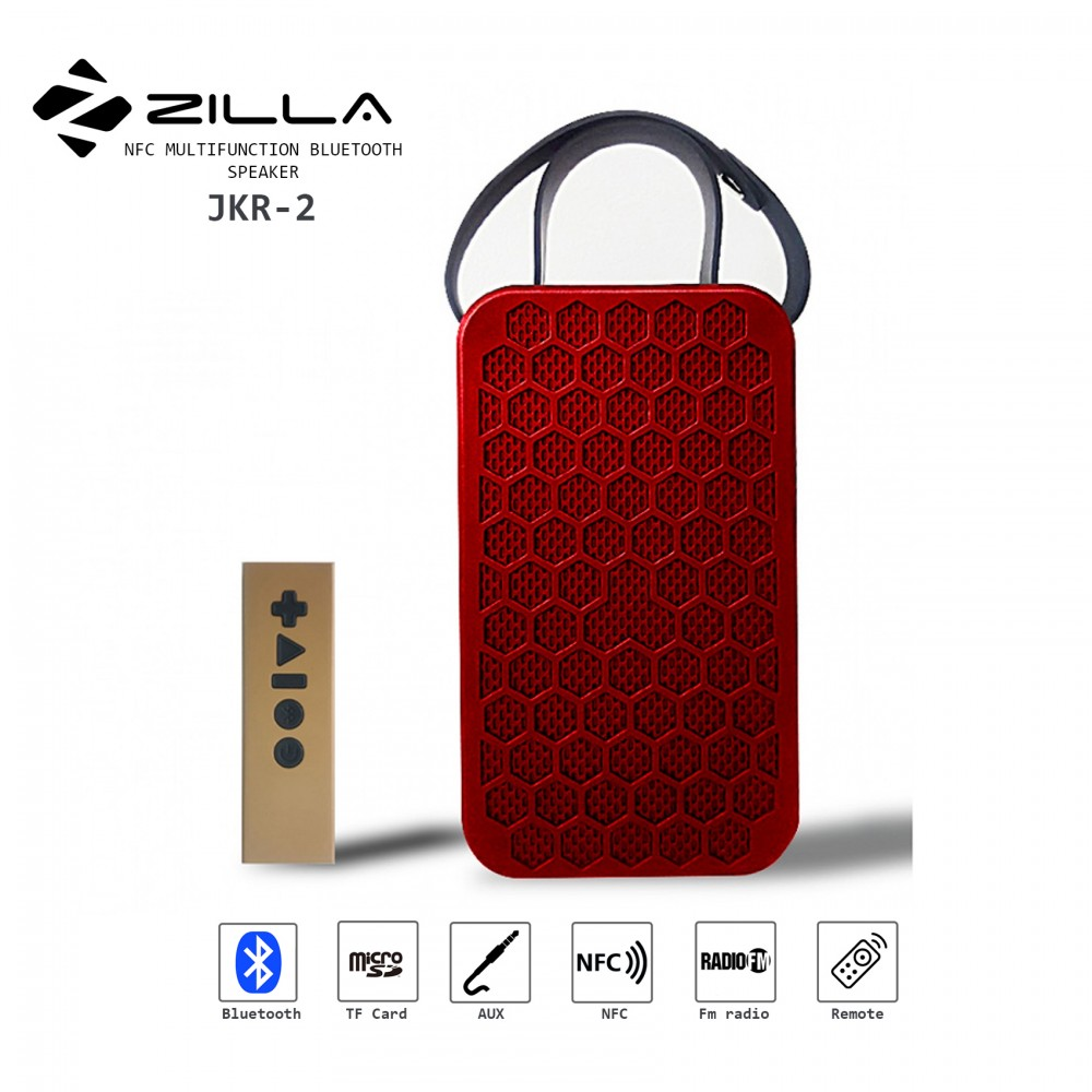 Zilla NFC Multifunction Bluetooth Speaker With Remote Control - Red