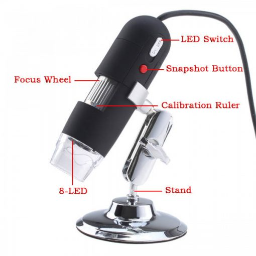20x to 800x USB Digital Microscope Endoscope - Black