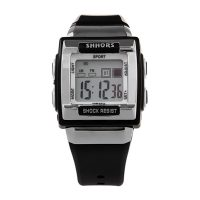 Shhors Waterproof LED Digital Watch - Black