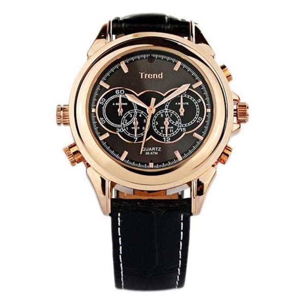 4GB MP3 Player DVR Water Resistant Spy Camera Watch - Rose Gold