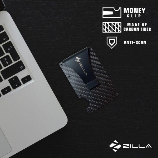 Zilla Carbon Fiber Card Holder Wallet With RFID Blocker - Black
