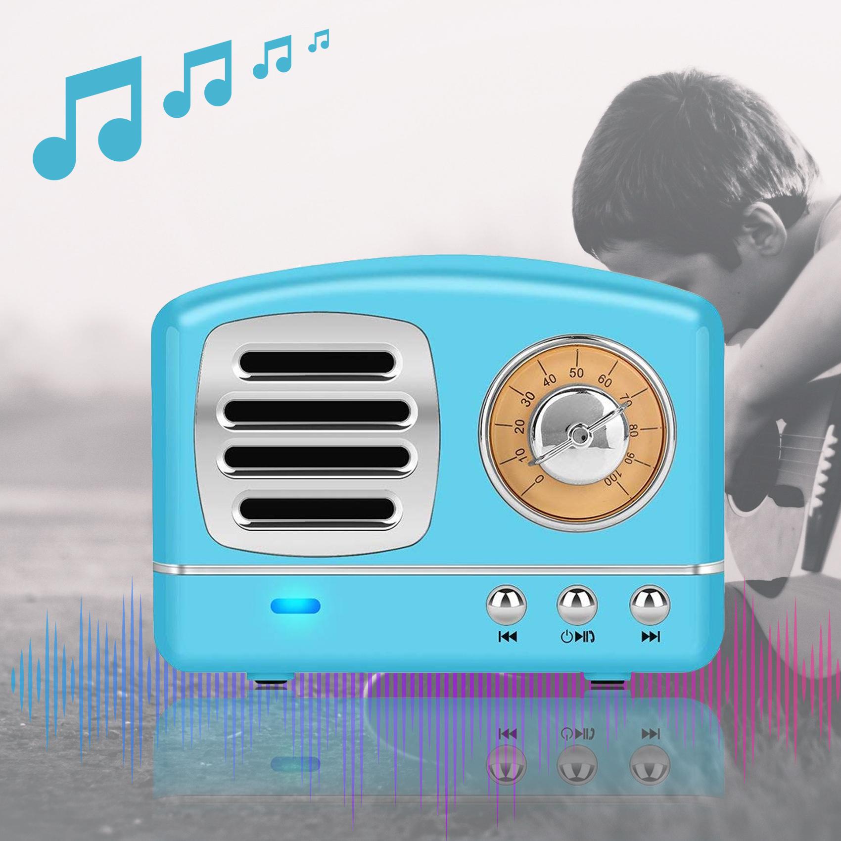 Multifunction Retro Design Bluetooth Speaker - Blue