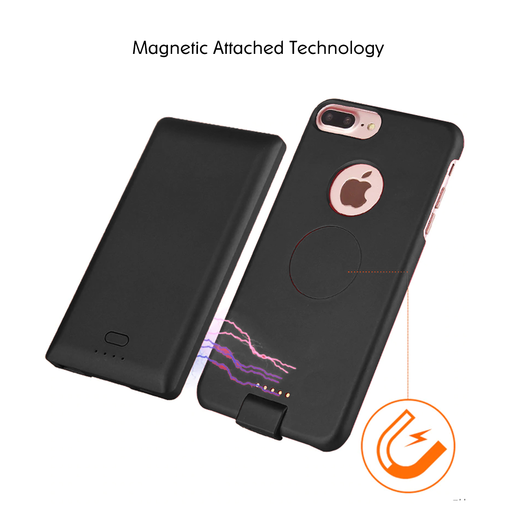 iPhone 6 6s 7 8 Magnetic Battery Case - Black