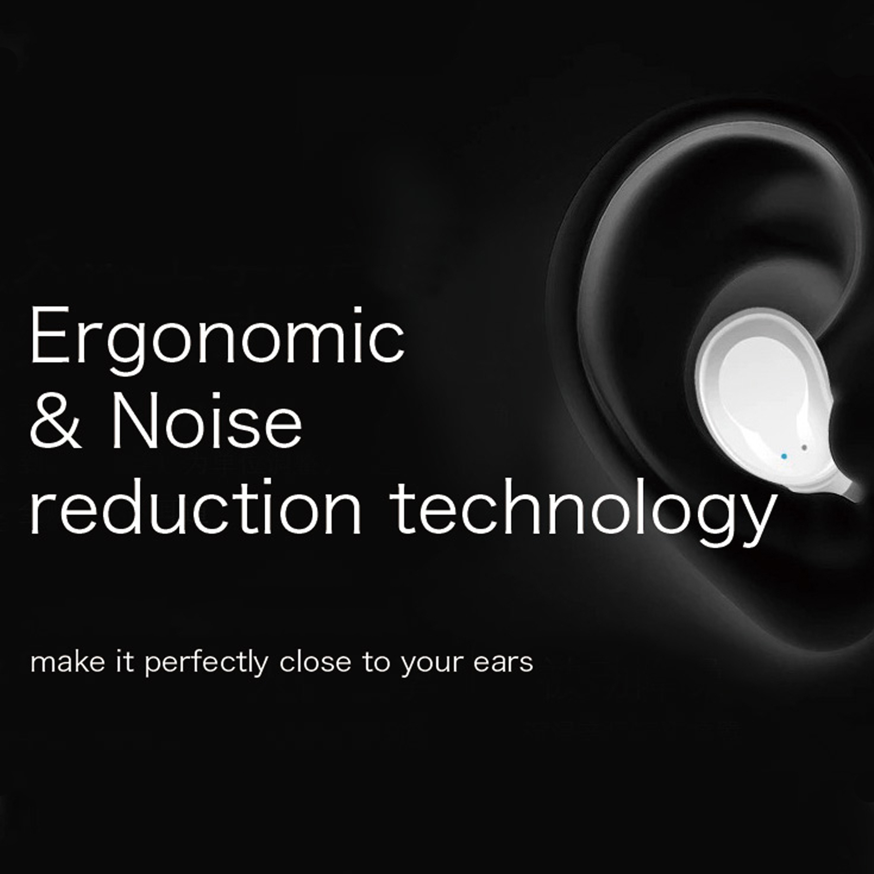 True Wireless Stereo Earbuds With Charging Case - Black