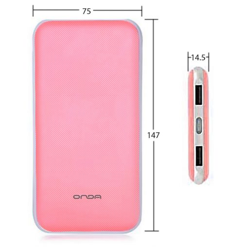 Onda N50T 5000 mah Dual Port Powerbank with Micro USB Charging Port - Pink