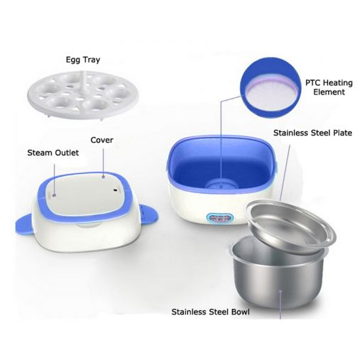 1 liter Multifunctional Mini Stainless Steel Electric Rice Cooker Rice Pot Rice Steamer Lunch Box - Violet