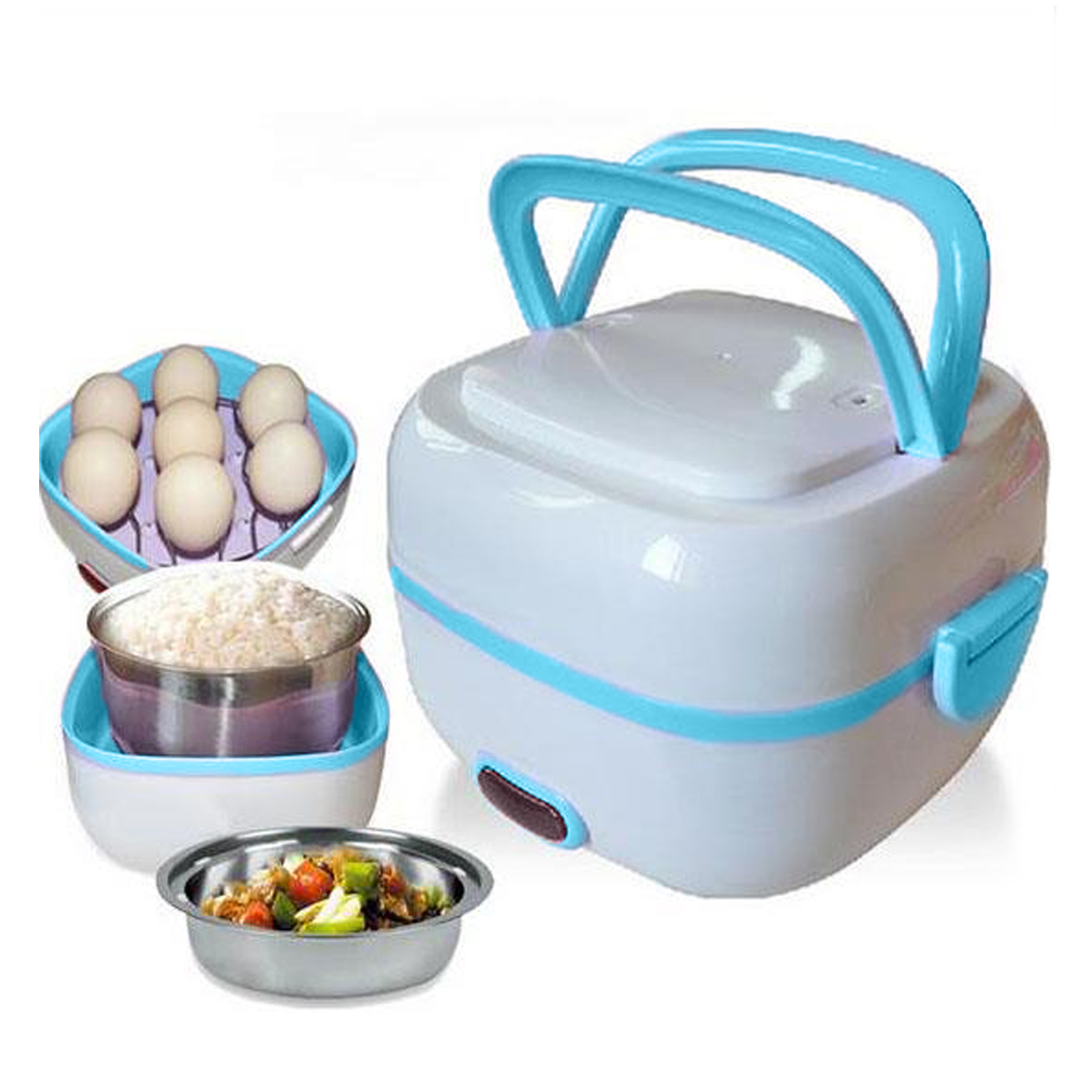 1 liter Multifunctional Mini Stainless Steel Electric Rice Cooker Rice Pot Rice Steamer Lunch Box - Blue