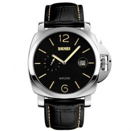 30M Waterproof LG1124 Large Dial Mens Casual Leather Watch - Yellow