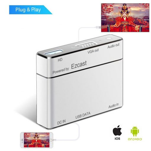 EZcast Screen Mirroring HD/VGA Converter for iPhone / Android - White