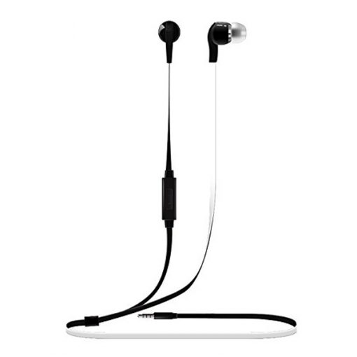 Vorson 3.5mm Flat Cable HiFi Earphone With Volume Control And Mic - Black