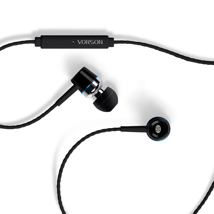 Vorson Tangle Free Stereo Earphones With Mic - Black